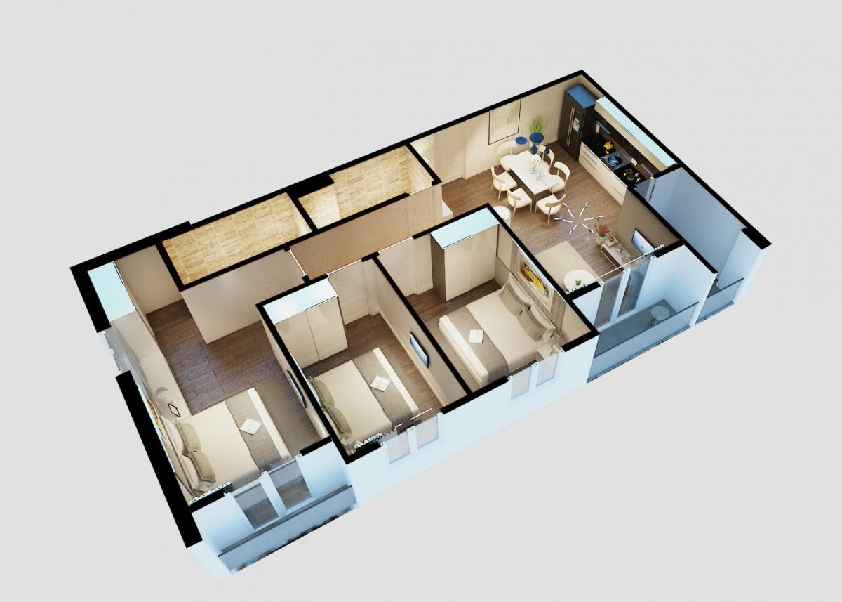 thiết kế căn 3 phòng ngủ city gate 3